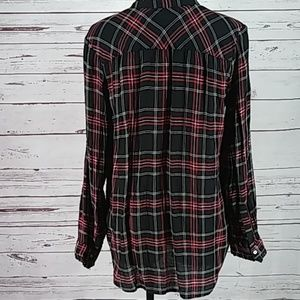 LOFT Tops - The Loft Red and Black Long Sleeve Button Down